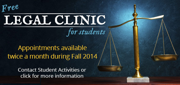 Fall 2014 Free Legal Clinics for CSI Students. Appointments available twice a month during Fall 2014.