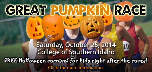 Great Pumpkin Race: October 25, 2014 at CSI.  FREE Halloween carnival for kids in the community right after the races