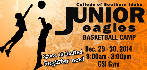 CSI Junior Eagles Basketball Camp: 9am to 3pm, December 29 - 30, 2014 at the CSI Gym. Space is limited.  Register now!