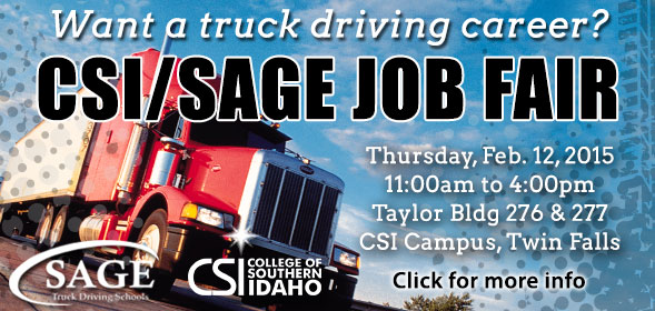 CSI/SAGE Job Fair from 11am to 4pm Thursday, February 12, 2015 in rooms 276/277 of CSI's Taylor building.