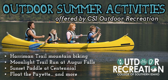 Outdoor Summer Activities offered by CSI Outdoor Recreation - Mountain Biking, Moonlight Trail Run, Sunset Paddle, and more!