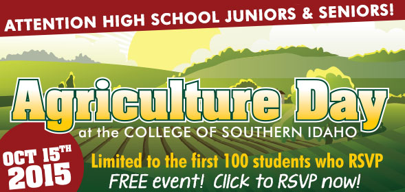 Agriculture Day at CSI on October 15, 2015. Attention High School juniors and seniors! Click to RSVP now!