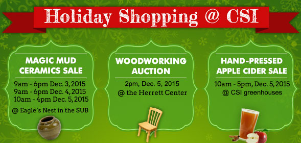 Holiday Shopping at CSI - Magic Mud: December 3 - 5, 2015 - Woodworking auction: December 5, 2015 - Click for details.