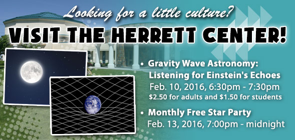 Astronomy Talk: Feb. 10, 2016, 6:30pm - 7:30pm | Monthly Free Star Party: Feb. 13, 2016, 7:00pm - midnight