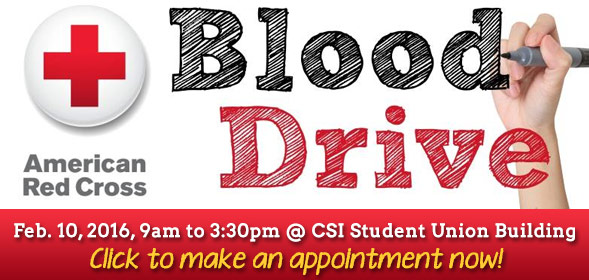 Blood Drive - February 10, 2016 9am-3:30pm - Click to make an appointment now!