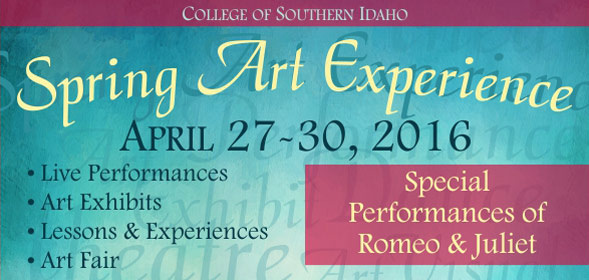 Spring Art Experience - April 27 - 30, 2016 - This special day will feature exhibitions, performances, items for sale, and hands-on arts experiences throughout the afternoon - Performance of Romeo & Juliet - Click for more info.