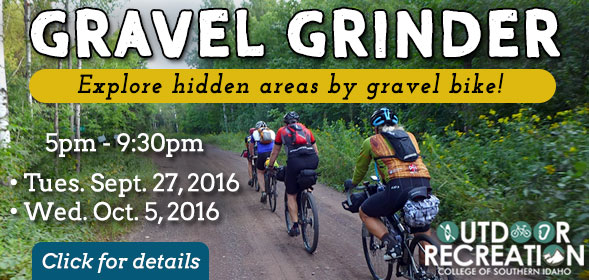 Gravel Grinder - Explore hidden areas by gravel bike! - 5:00pm to 9:30pm,  Tues. Sept. 27, 2016 and Wed. Oct. 5, 2016 - Click for details.