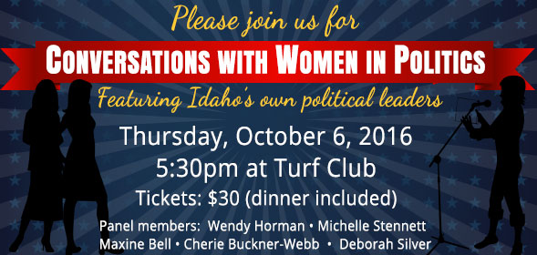 Please join us for Conversations with Women in Politics - Thursday, October 6, 2016, 5:30pm at Turf Club - Tickets: $30 (dinner included) - Click for details.