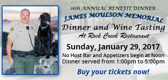 James Moulson Benefit Dinner - Sunday, Jan. 29, 2017 at the Rock Creek Restaurant in Twin Falls - No Host Bar and Appetizers begin at Noon, Dinner served from 1:00pm to 5:00pm - Buy your tickets now!
