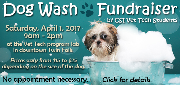 CSI Vet Tech Program- Annual Dog Wash - April 1, 2017 9:00 am to 2:00 pm - 260 2nd Ave S. in Twin Falls