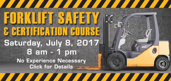 CSI Workforce Development Center - Forklift General Knowledge and Safety course - 8 a.m. to 1 p.m. Saturday, July 8 at  Applied Technology and Innovation center - The cost is $120