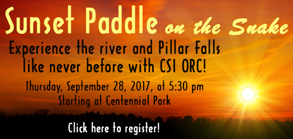 CSI Outdoor Recreation - Sunset Paddle on the Snake River - Thursday, September 28 5:30 PM - click for details